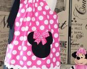Girls Minnie Dress, Minnie Birthday Dress, Minnie Toddler Dress, Minnie Party Dress, Minnie Mouse In Pink Pillowcase Dress,Fully Lined Dress