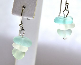Soft Aqua White and Green Sea Glass Earrings with Stainless Steel