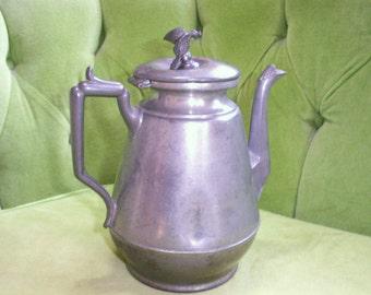 Vintage American Pewter Bird Coffee Pot