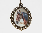 Horse Necklace, Brown Horse, Horse Jewelry, Oval Pendant
