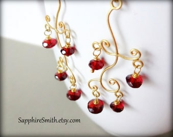 Mozambique Red Garnet  & Bali Gold Vermeil Chandelier Earrings, deep wine red gemstones