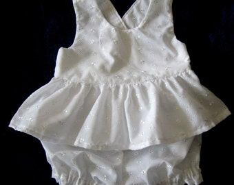 White Embroidered Eyelet Sun Suit Ruffled Top and Bloomers Set Toddler Girl Size 2T