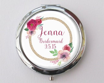 Bridesmaid Gift, Compact Mirror, Pocket Mirror, Bridesmaid Compact, Wedding Party Gift