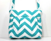 Turquoise and White Chevron Small Pleated Shoulder Purse Sling Bag Hobo Shoulder Bag Cross Body Bag - Ready to Ship
