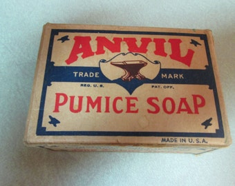 Vintage Los Angeles Soap Co  ANVIL 1928 PUMICE SOAP w/ Box cosmetic beauty collectible rare advertising