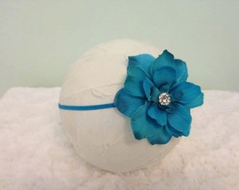 Flower Headband, Newborn Photography Prop, Turquoise Flower Headband with Rhinestone Center, Photography Prop, Baby Headband