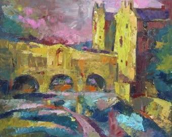 "Title ""Pulteney Bridge and Bath Weir"" Original Oil Painting cityscape"
