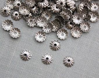 5mm Silver Fluted Bead Caps 100pcs