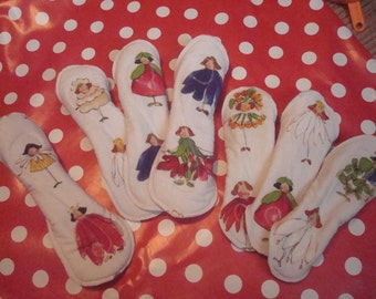 Handmade washable cloth moonpads/sanitary pads, first moon pack of 7 ( fairies and florals)