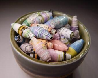"Paper Beads Handmade Spring Pastel  3/4"" to 1"" (50)"