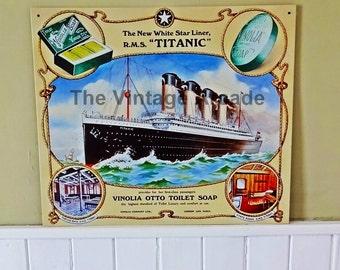 Titanic White Star Liner, Wall Plaque, Vinolia Otto Toilet Soap Steel Plaque, Reproduction of Original Advert
