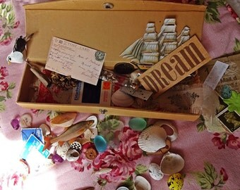 Mixed Media,Friendship Box, Cabinet of Curiosities, Memory Box, Keepsakes, Mixed Media, Altered Art,  Assemblage Box, By the Sea, Gift Box