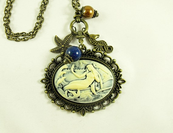 Bronze Cameo Necklace,    Nautical  Mermaid with Pearls,  Lapis Gemstone And Charms  Womens Gift  Handamde