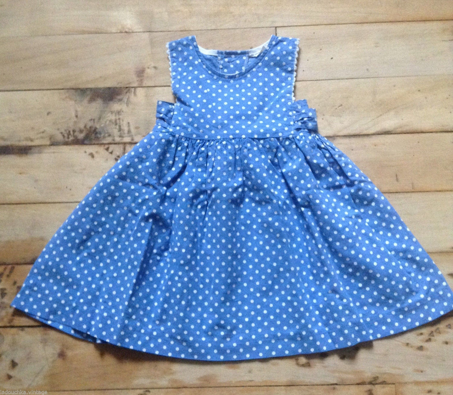 f915eafb7c French 1950s Baby Girl Cotton Sleeveless Summer Dress   Bow - Blue and  White Polka Dots