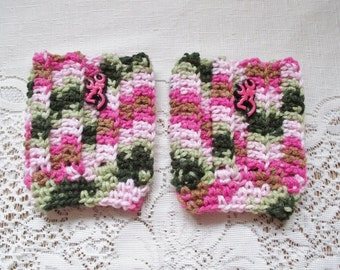 READY TO SHIP - Child Size - Pink Camo Colored with Browning Deer Head Button Crochet Boot Cuffs