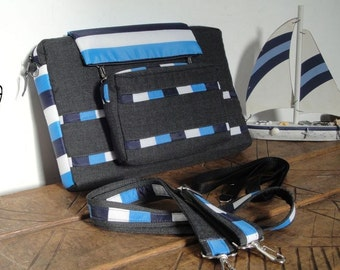 LAPTOP BAG Customizable for Color Fabric and Size - Messenger bag and Detachable Wallet Padded- Shoulder bag-fully Padded- WATERPROOF lining