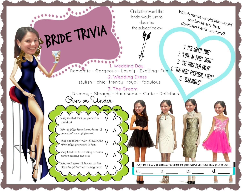 Bride Trivia Bachelorette Party Bridal Shower Game