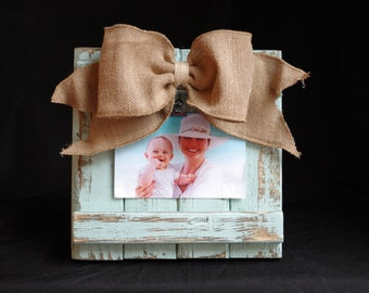 Handmade Barnwood 4x6 Clip Picture Frame Light Teal with Burlap Bow Photo Frame