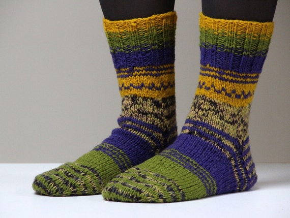 Size - US 9.5 for woman, EU size 41, warm and beautiful hand knit wool socks