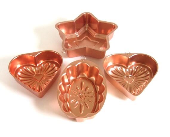 Mirro Jello Molds Copper Tone Aluminum Wall Hangings Heart