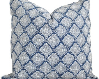 Kravet Decorative Pillow Cover Indigo Woodblock 18x18, 20x20 or 22x22, toss pillow, accent pillow, throw pillow, pillow cushion, pillow sham