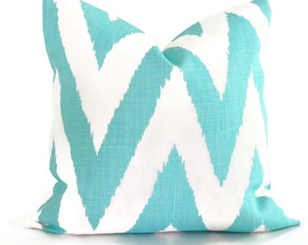Quadrille Tashkent Pillow, Turquoise  White, Ikat Chevron Pillow Cover Square, Eurosham or Lumbar pillow, Accent Pillow, Throw Pillow, Toss