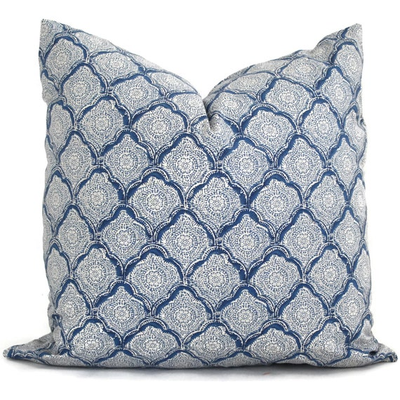 Decorative Pillows Indigo : Kravet Decorative Pillow Cover Indigo Woodblock 18x18 20x20