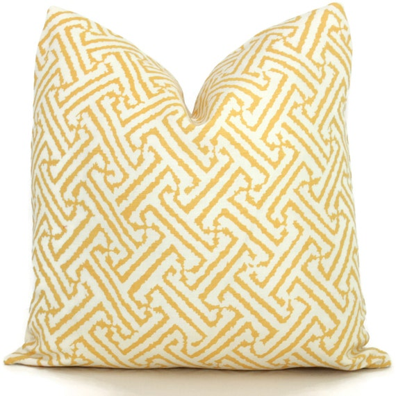 Queen Throw Pillows : Quadrille Inca Yellow Java Grande Pillow Cover Square