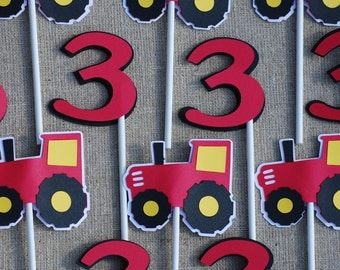 Red and Yellow Tractor Cupcake Toppers