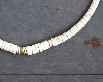 Sea Shells Boho Short Necklace - Off White Heishi Beads - Gypsy Mermaid