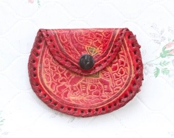 Vintage Red Leather Purse - Little Old Leather Coin Pouch or Purse - Elephants