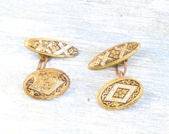 Antique Damascene Cuff Links