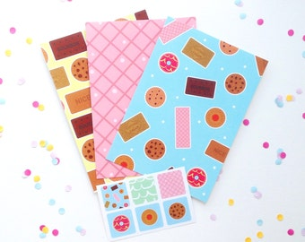 Cute Illustrated Biscuit Postcards and Sticker Set