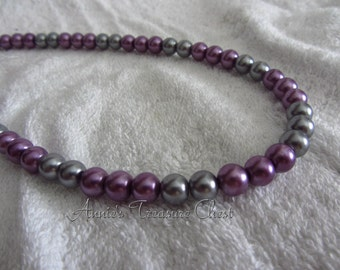 Two Toned Pearl Necklace - Lavender and Grey