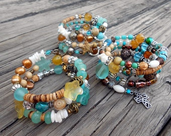 Beaded Wrap Bracelet, Stack, Charm, Boho Chic, Glam, Eclectic, Beach, Freshwater Pearl, Bohemian, Cross, Shell, Starfish