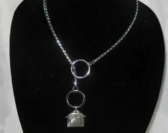 "18""  Silver, Snake Choke Chain Necklace, Chrome, Dog House Pendant"