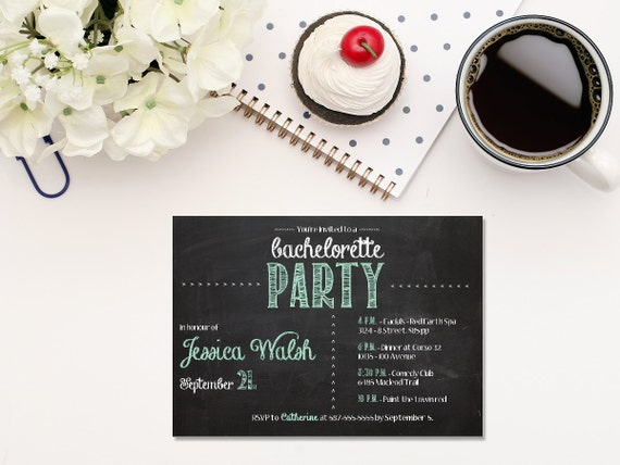 Printable DIGITAL pool blue chalkboard bachelorette invitation