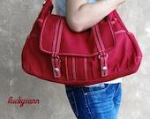 ASTER // Red / Lined with Beige / 013 // Ship in 3 days // Messenger / Diaper bag / Shoulder bag / Tote / Canvas Bag