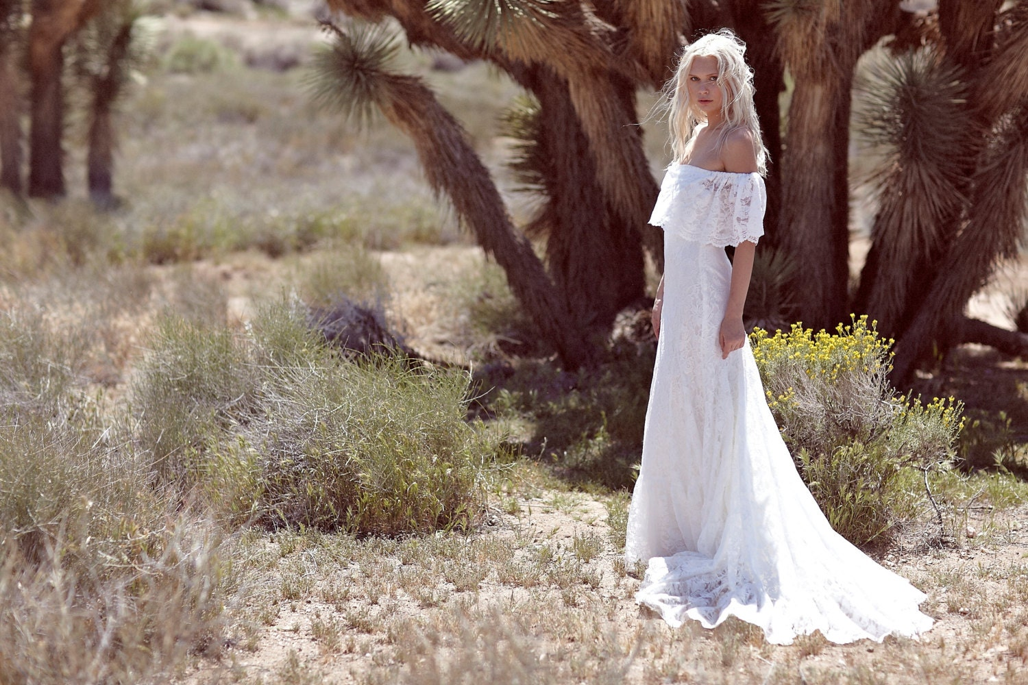 Bohemian Wedding Dress f The Shoulder Gown by