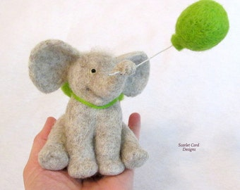 Baby Elephant, Felted Animal, Gray Elephant with a Spring Green, Nursery Decor, Jungle Decoration, Fiber Art Sculpture