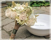 Woodland Moss Collection - Bridal Bouquet -  Natural dried and preserved flower wedding bouquets - green cream hydrangea sola artichoke