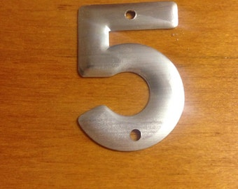 Vintage industrial metal number 5 old metal number