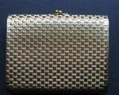 SALE Vintage Napier Gold Tone Weave Woven Cigarette Case