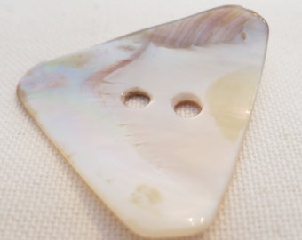 "Shell triangle shaped, 2 hole 1.5""ins tall curved button, natural shell, very polished, Use as toggle, button, in jewelry. CLAM15.3-3.21-14."