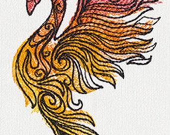 Raised Phoenix Embroidered Flour Sack Hand/Dish Towel