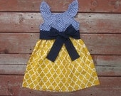 Girls Navy and Mustard Yellow Lattice Print Flutter Sleeve Dress with Sash 6 12 18 24 2T 3T 4T 5/6 7/8 9/10 11/12