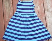 """Girls Purple and Aqua Stripe Knit Tank Dress 12 18 2t 3t 4 5 6 7 8 10 LLK Homegrown Tank Dress """"Elsa Inspired"""""""