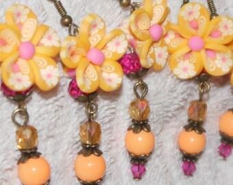 Whimsical Flower Earrings -  Earrings Rose Sherbet Earrings
