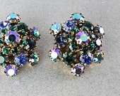 Blue Green rhinestone Earrings, Flower Austrian crystal, Aurora Borealis Peacock Heliotrope  Vintage jewelry