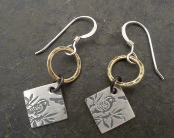 Roma Double Earrings with Hammered Brass Ring